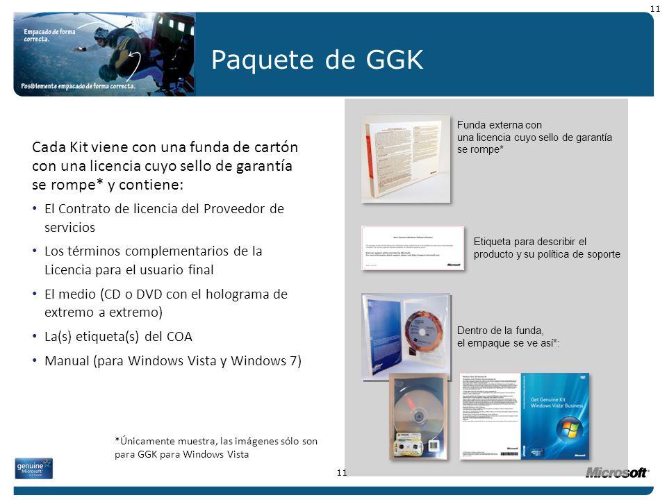 11 Paquete de GGK. Funda externa con una licencia cuyo sello de garantía se rompe*
