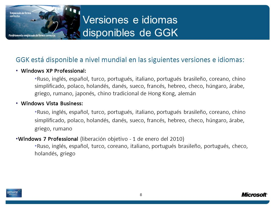 Versiones e idiomas disponibles de GGK