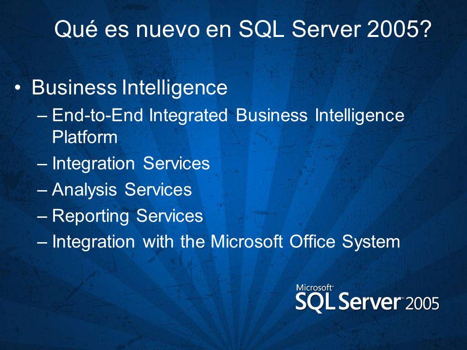 Qué es nuevo en SQL Server 2005