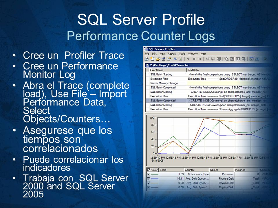 SQL Server Profile Performance Counter Logs