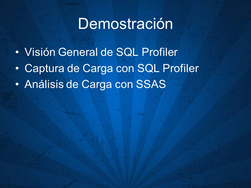 Demostración Visión General de SQL Profiler