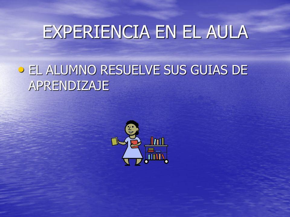 EXPERIENCIA EN EL AULA EL ALUMNO RESUELVE SUS GUIAS DE APRENDIZAJE