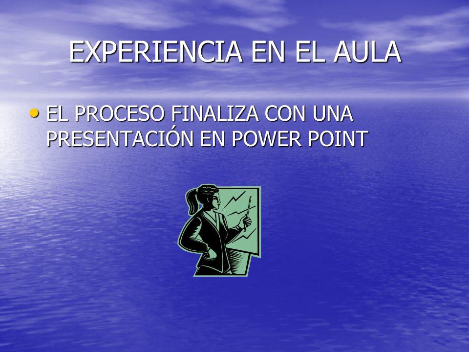 EXPERIENCIA EN EL AULA EL PROCESO FINALIZA CON UNA PRESENTACIÓN EN POWER POINT