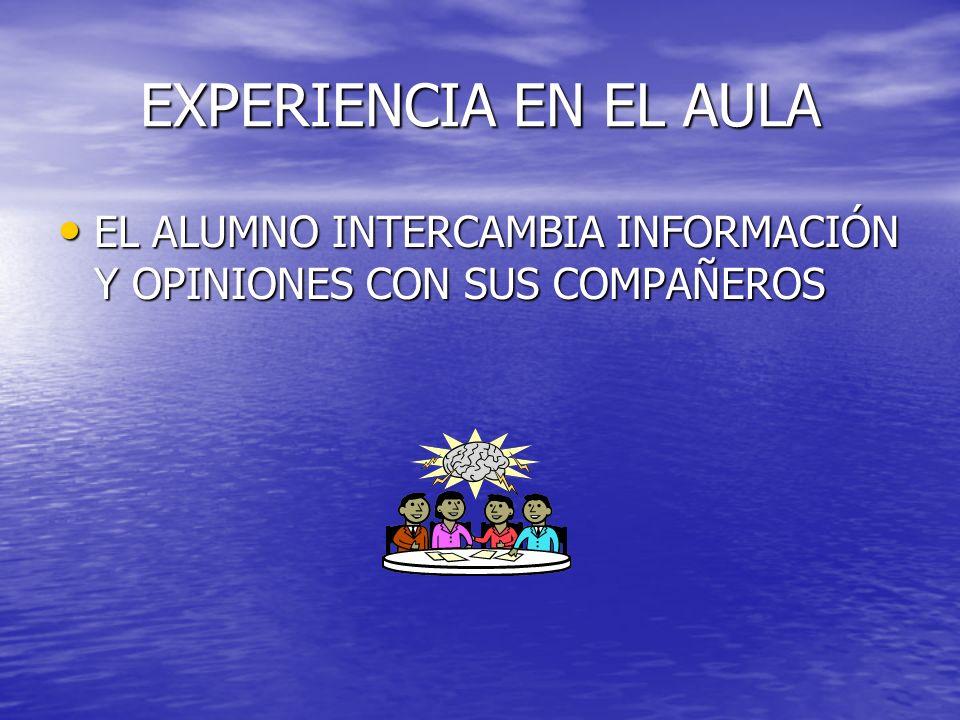 EXPERIENCIA EN EL AULA EL ALUMNO INTERCAMBIA INFORMACIÓN Y OPINIONES CON SUS COMPAÑEROS