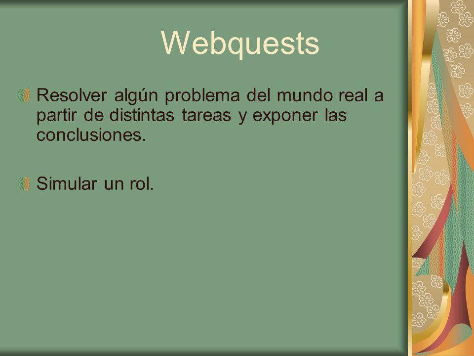 Webquests Resolver algún problema del mundo real a partir de distintas tareas y exponer las conclusiones.