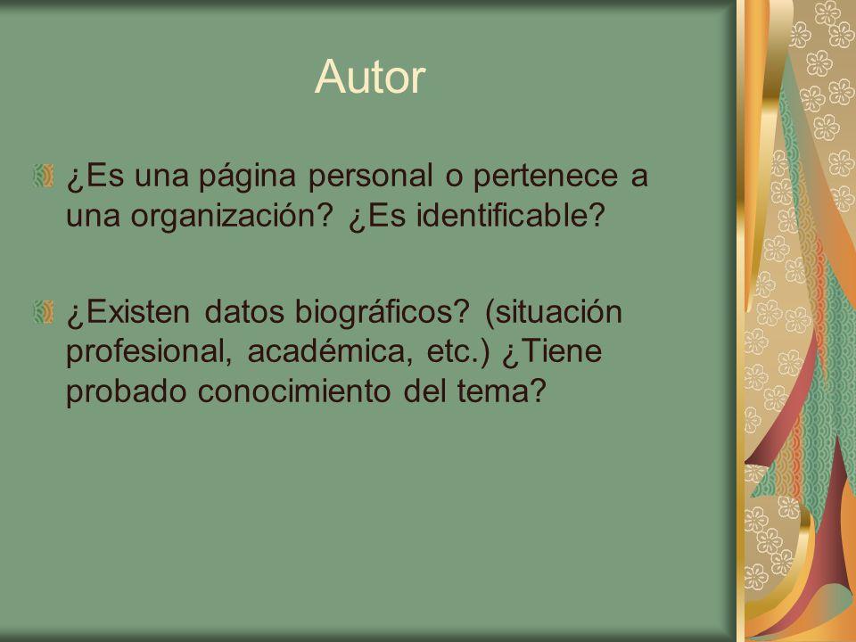 Autor ¿Es una página personal o pertenece a una organización ¿Es identificable