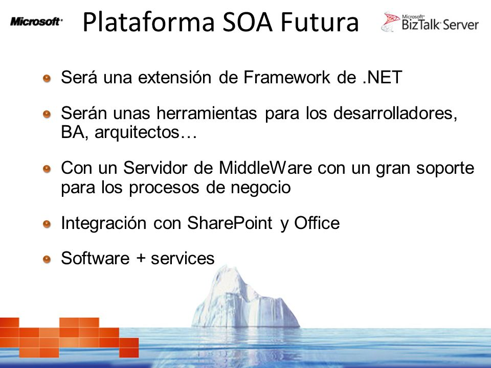 Plataforma SOA Futura Será una extensión de Framework de .NET