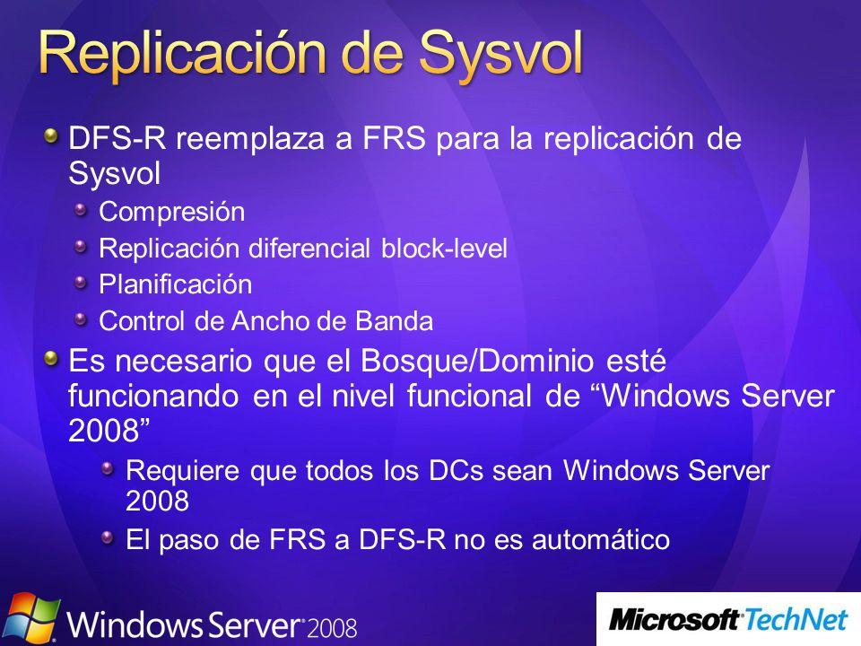 3/24/2017 4:01 PM Replicación de Sysvol. DFS-R reemplaza a FRS para la replicación de Sysvol. Compresión.