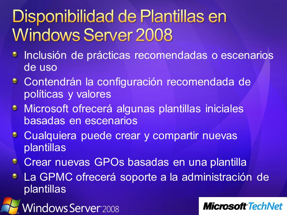 Disponibilidad de Plantillas en Windows Server 2008