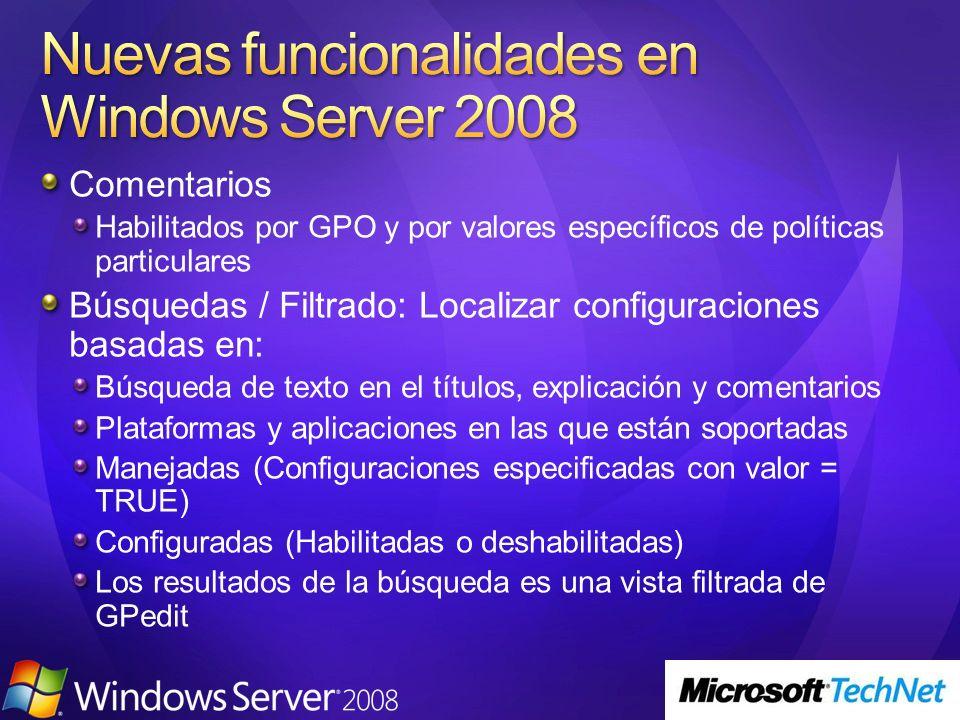 Nuevas funcionalidades en Windows Server 2008