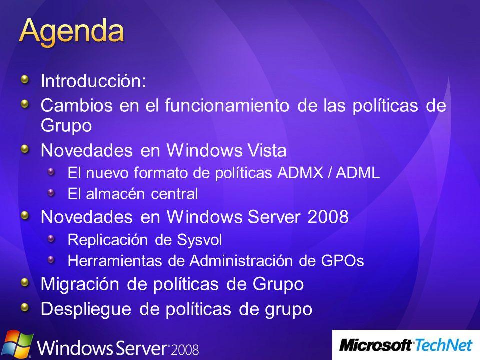 3/24/2017 4:01 PM Agenda. Introducción: Cambios en el funcionamiento de las políticas de Grupo. Novedades en Windows Vista.