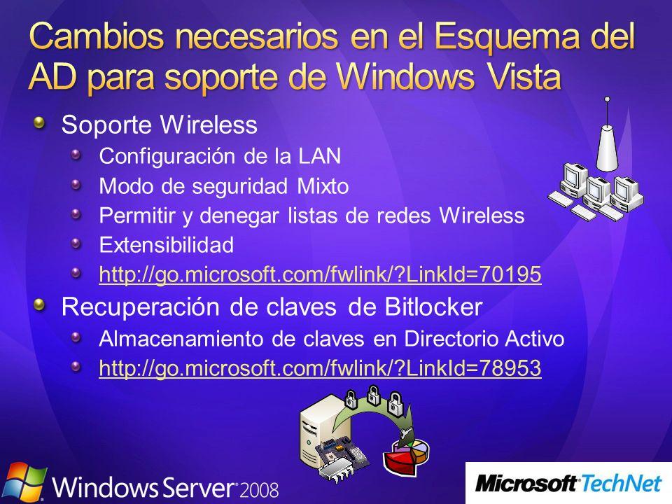 Cambios necesarios en el Esquema del AD para soporte de Windows Vista