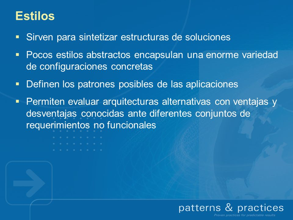 Estilos Sirven para sintetizar estructuras de soluciones