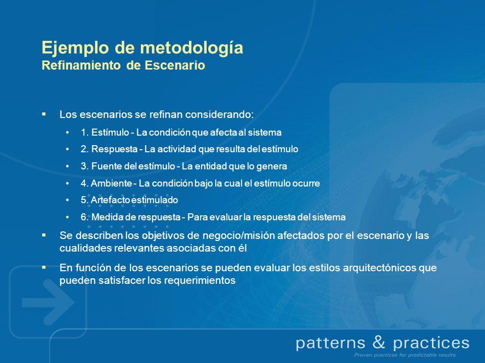 Ejemplo de metodología Refinamiento de Escenario