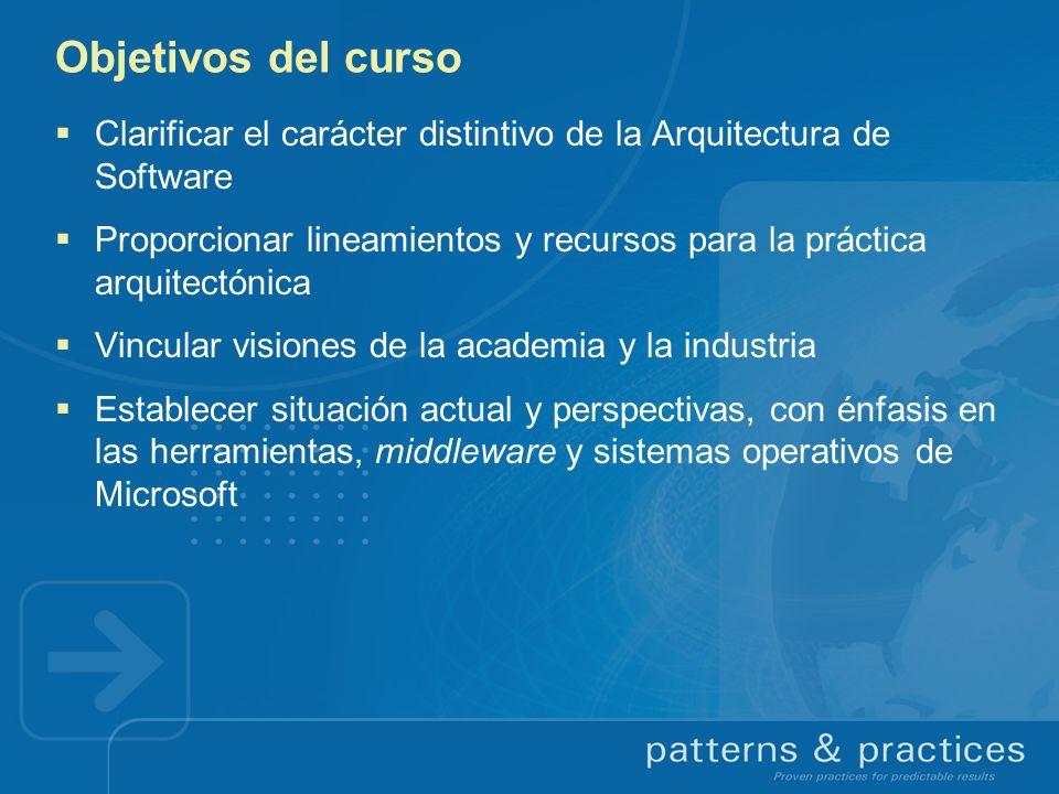 Objetivos del curso Clarificar el carácter distintivo de la Arquitectura de Software.