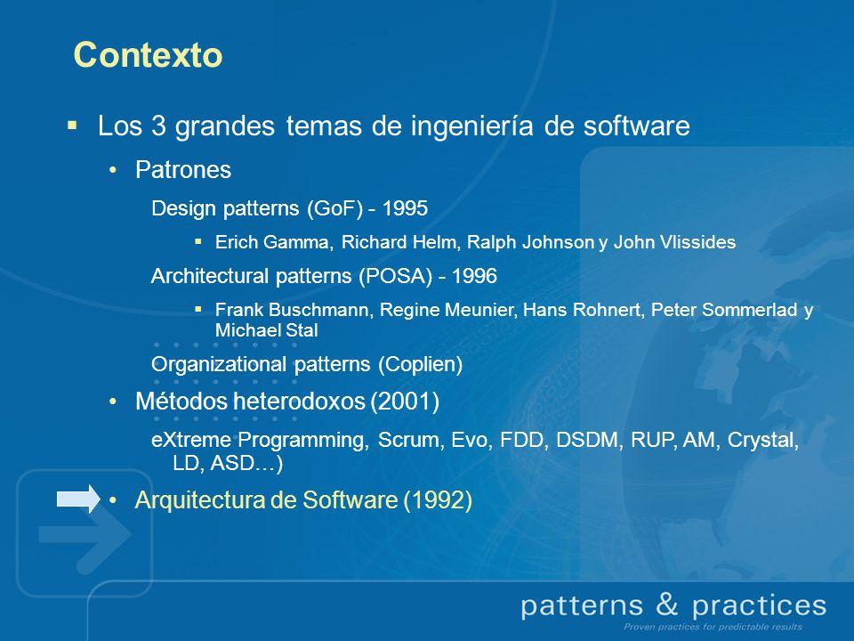 Contexto Los 3 grandes temas de ingeniería de software Patrones