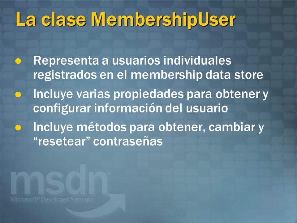 La clase MembershipUser