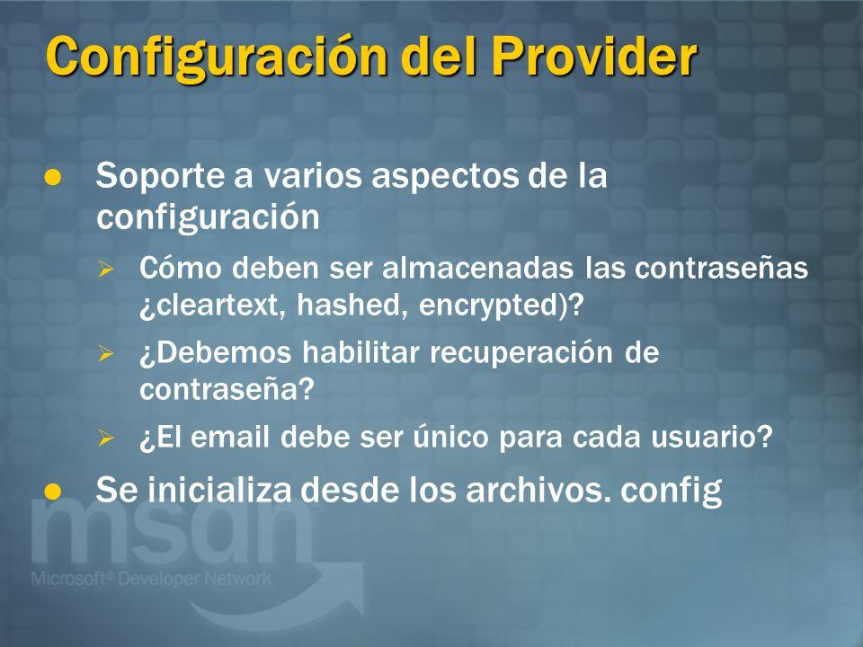 Configuración del Provider