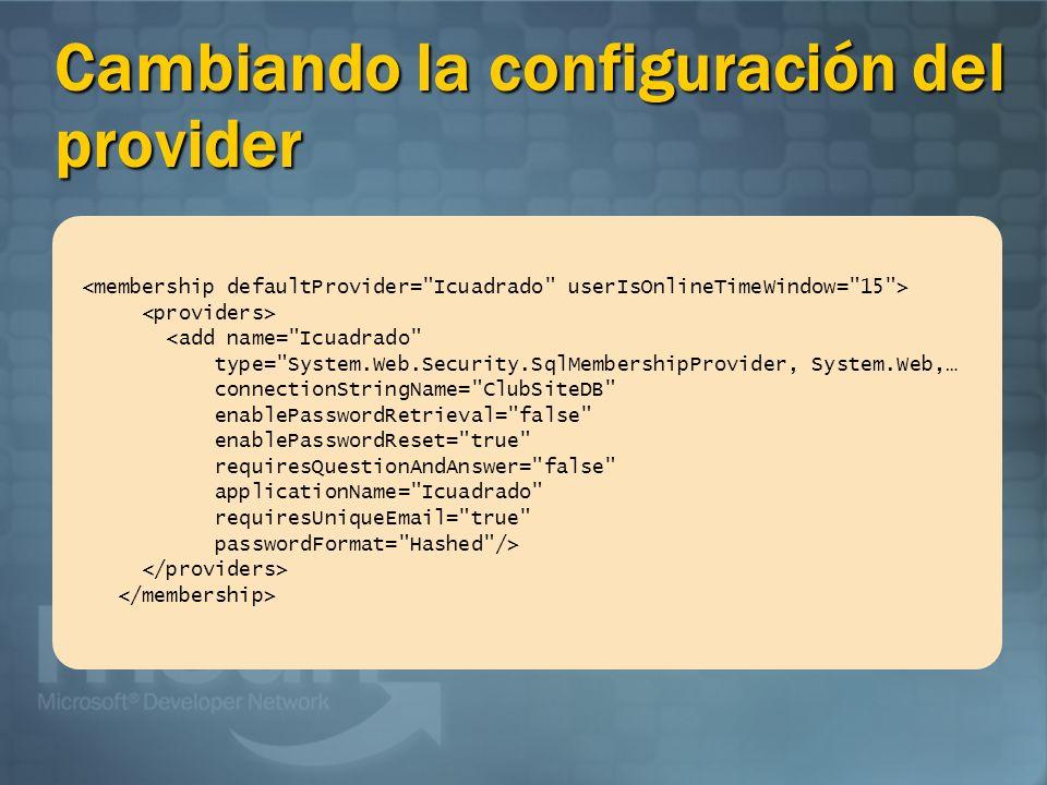 Cambiando la configuración del provider