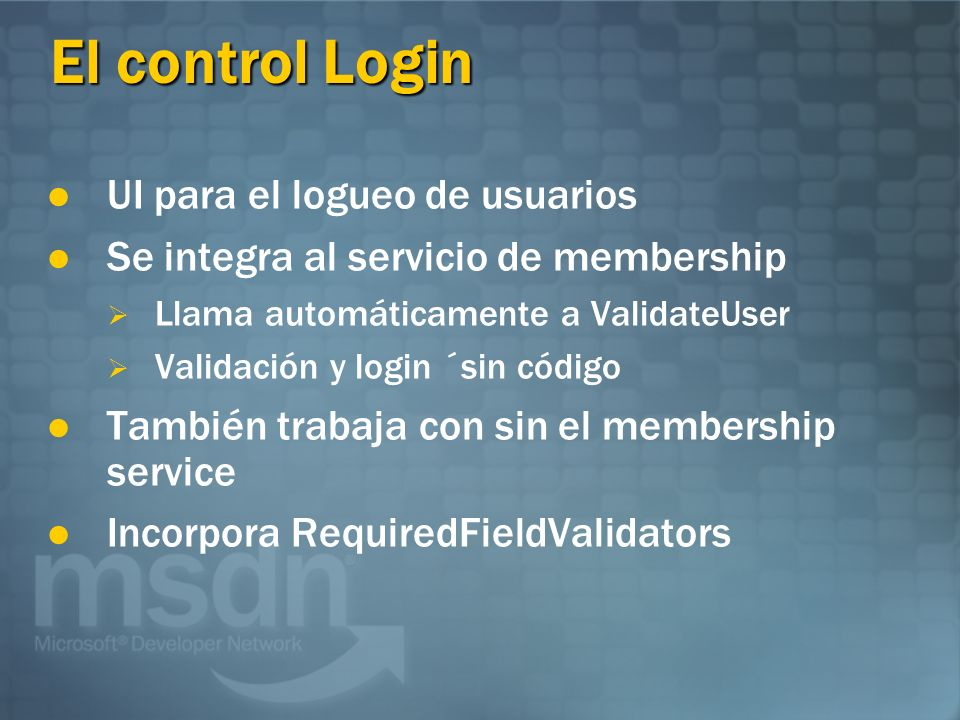 El control Login UI para el logueo de usuarios