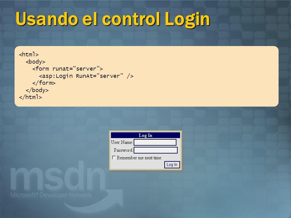 Usando el control Login