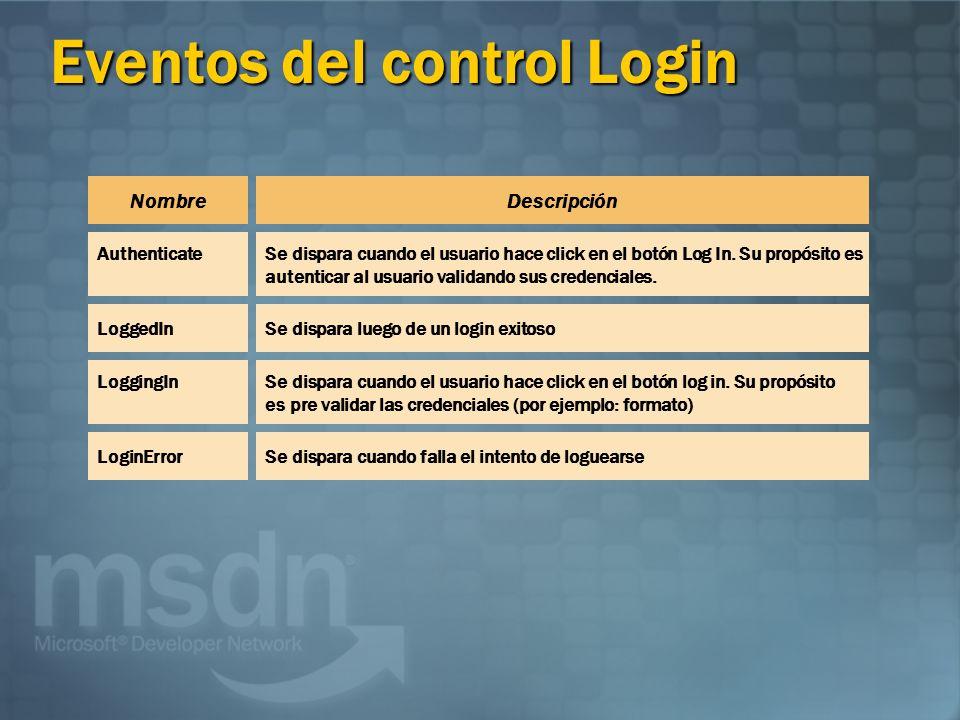 Eventos del control Login