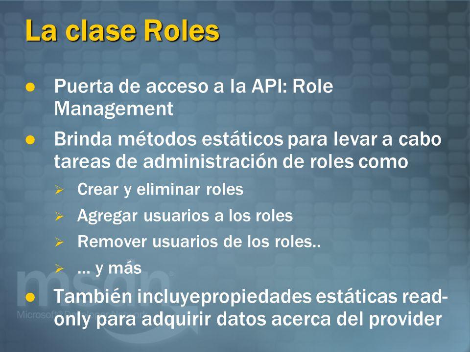 La clase Roles Puerta de acceso a la API: Role Management