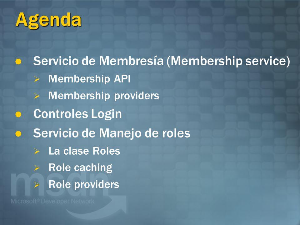 Agenda Servicio de Membresía (Membership service) Controles Login