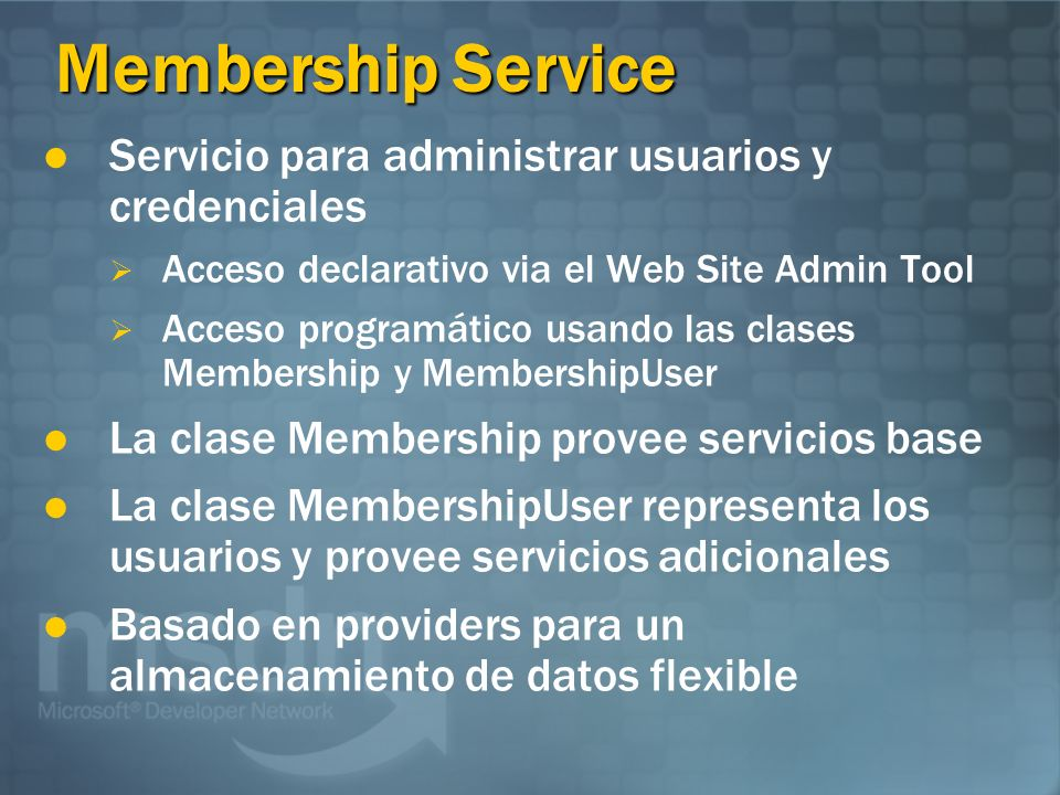 Membership Service Servicio para administrar usuarios y credenciales