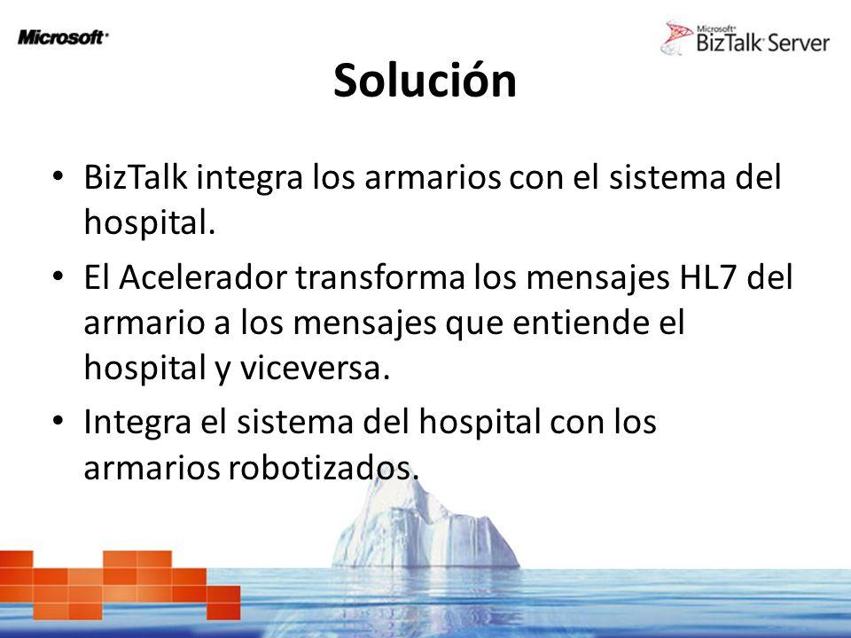 Solución BizTalk integra los armarios con el sistema del hospital.