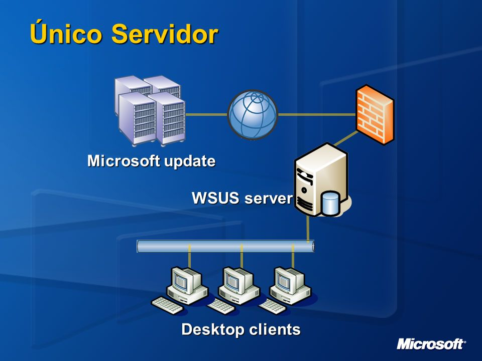Único Servidor Microsoft update WSUS server Desktop clients