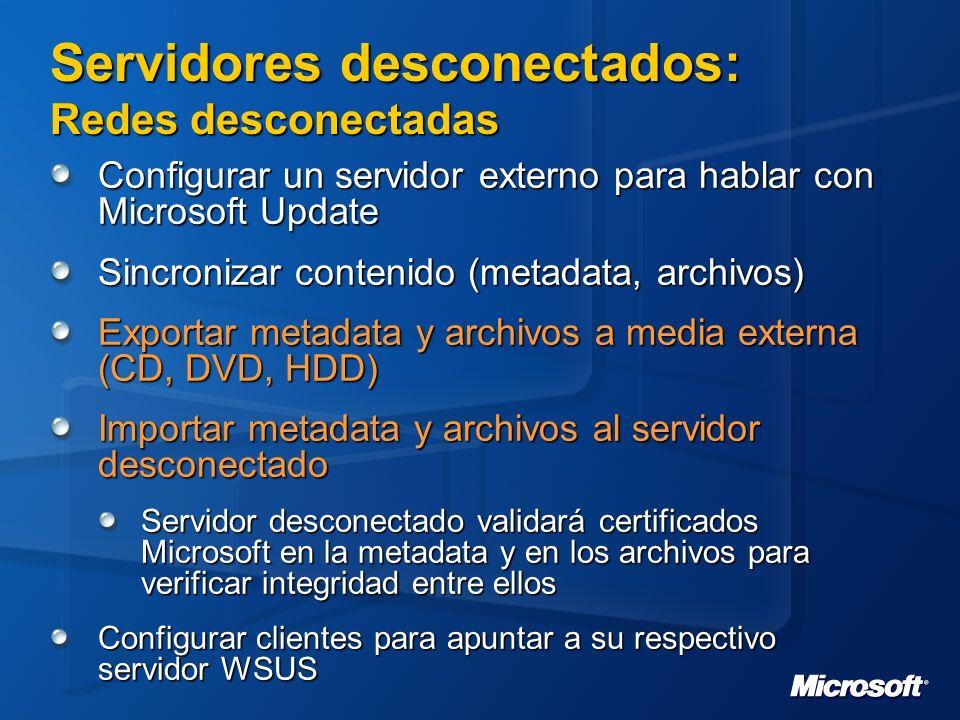 Servidores desconectados: Redes desconectadas