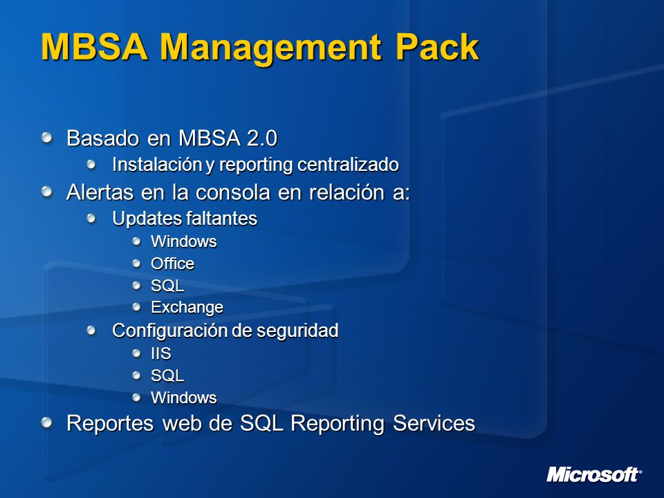 MBSA Management Pack Basado en MBSA 2.0