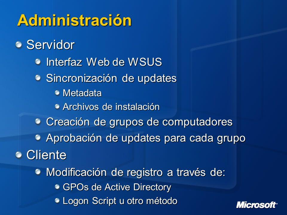 Administración Servidor Cliente Interfaz Web de WSUS