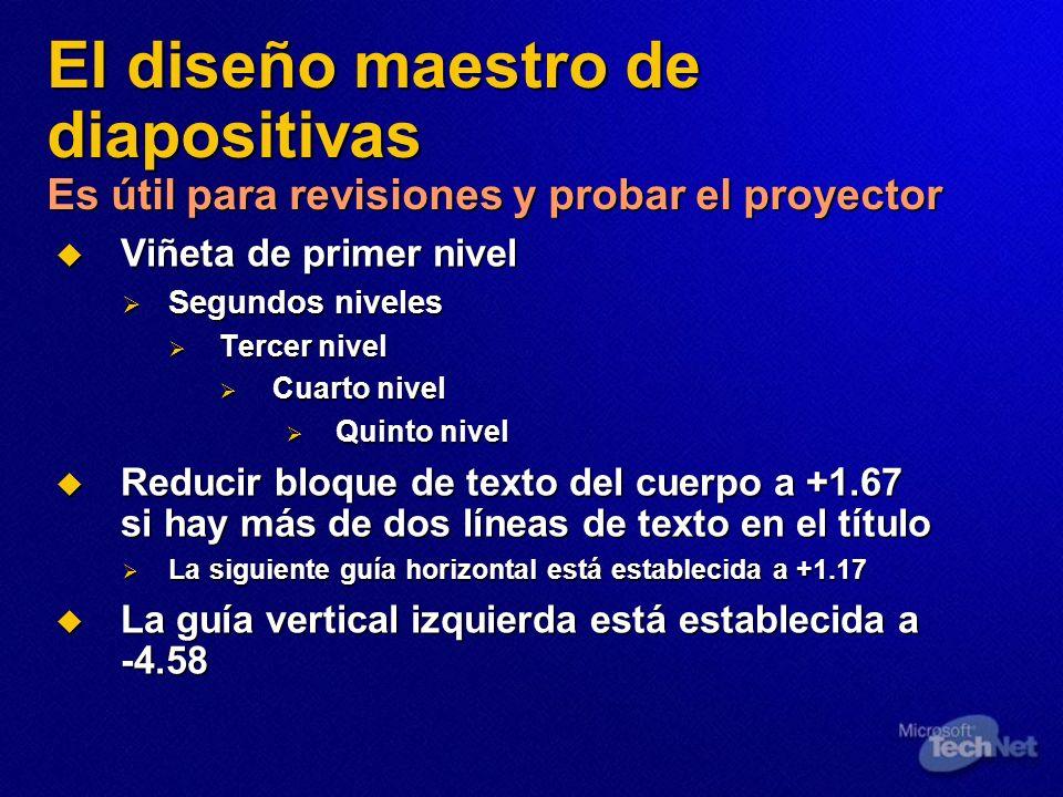 El diseño maestro de diapositivas Es útil para revisiones y probar el proyector