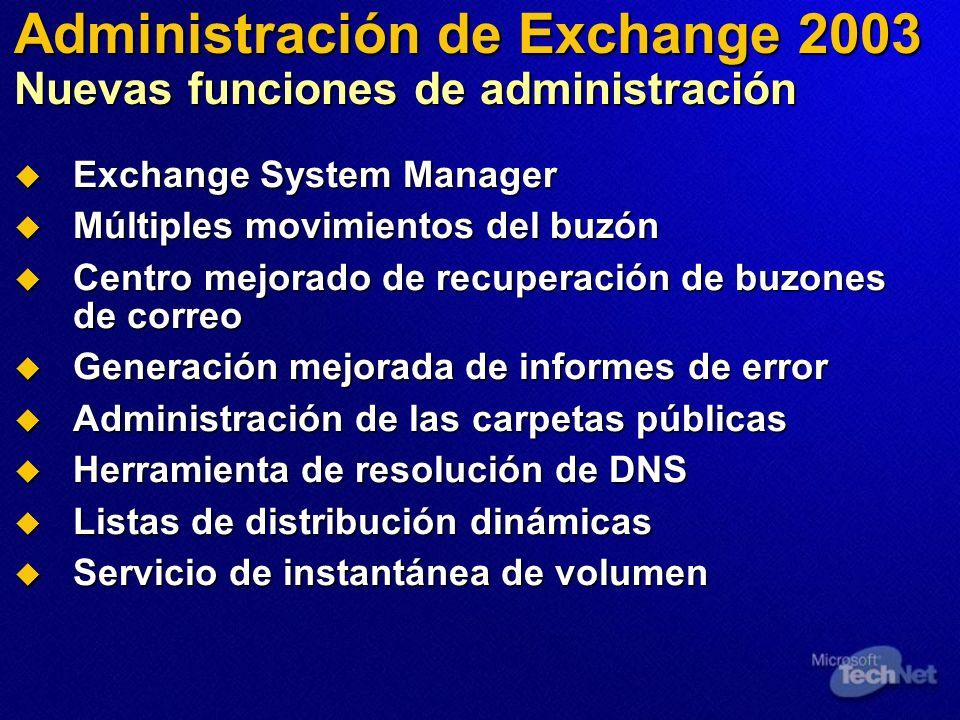 Administración de Exchange 2003 Nuevas funciones de administración