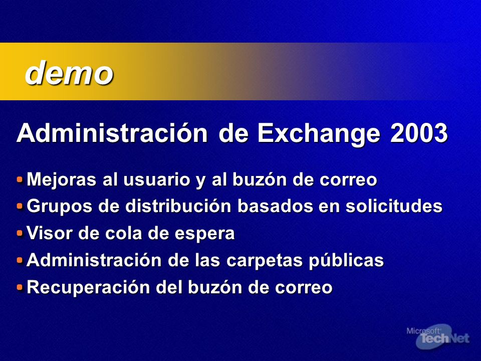 demo Administración de Exchange 2003