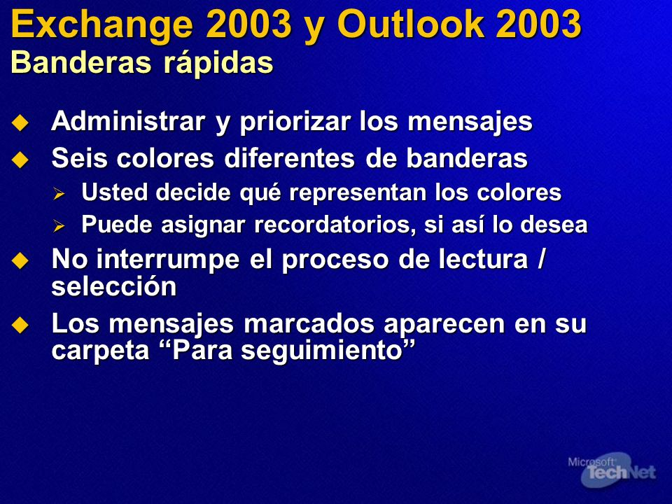 Exchange 2003 y Outlook 2003 Banderas rápidas
