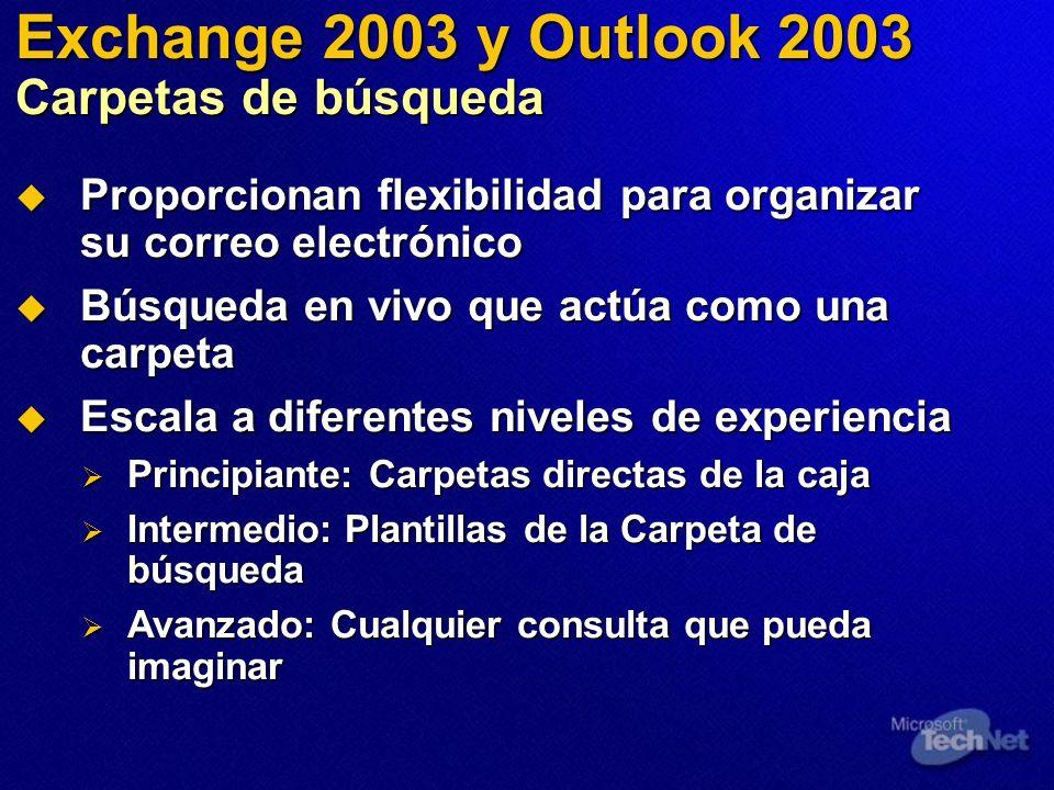 Exchange 2003 y Outlook 2003 Carpetas de búsqueda