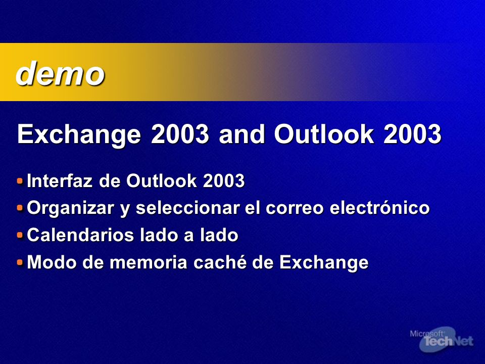 demo Exchange 2003 and Outlook 2003 Interfaz de Outlook 2003