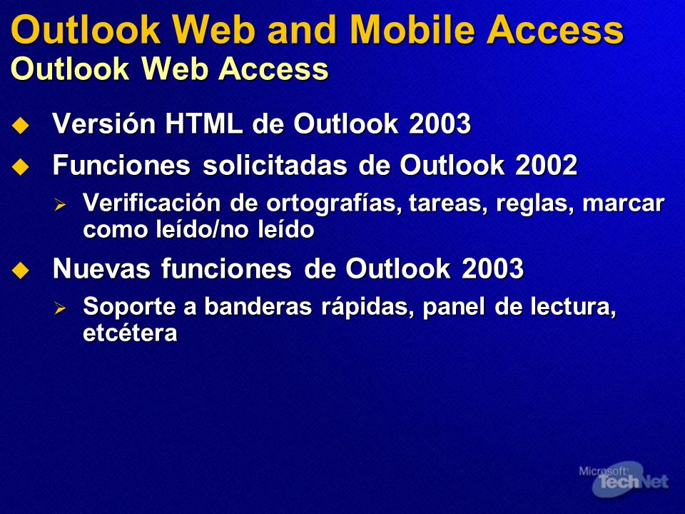 Outlook Web and Mobile Access Outlook Web Access