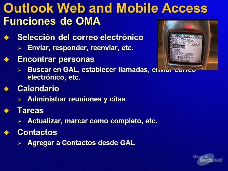 Outlook Web and Mobile Access Funciones de OMA