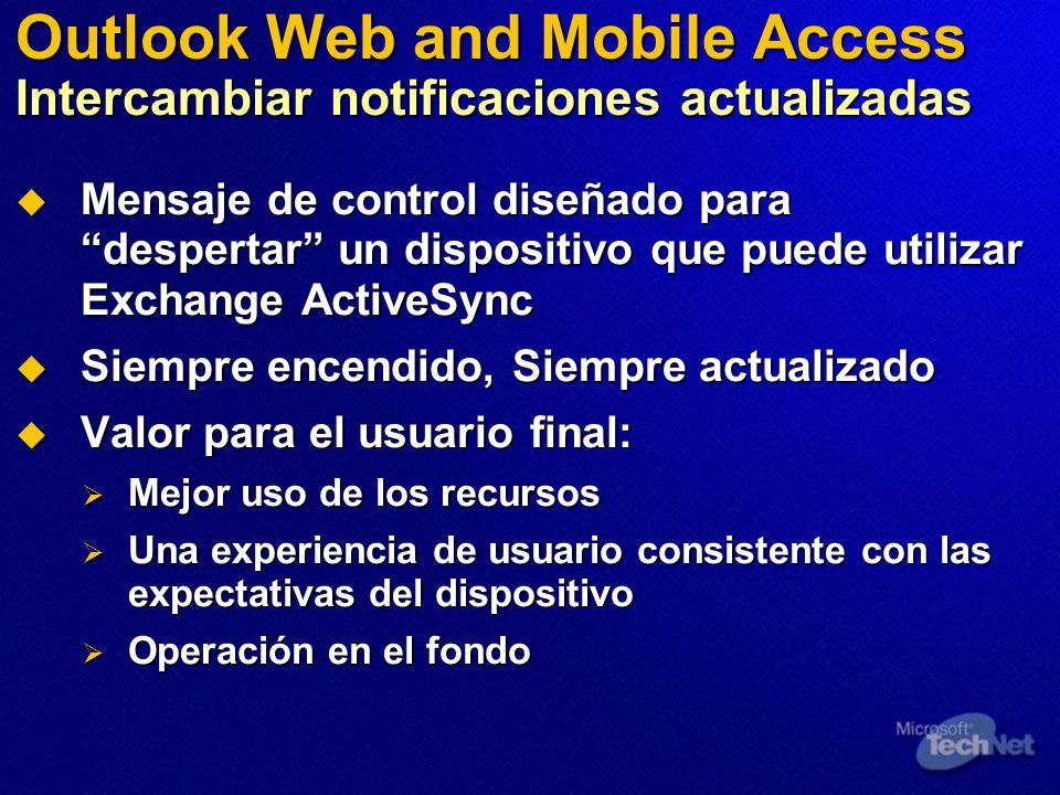 Outlook Web and Mobile Access Intercambiar notificaciones actualizadas