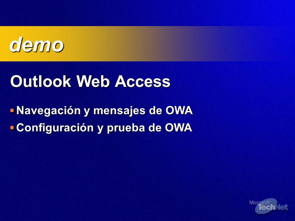 demo Outlook Web Access Navegación y mensajes de OWA