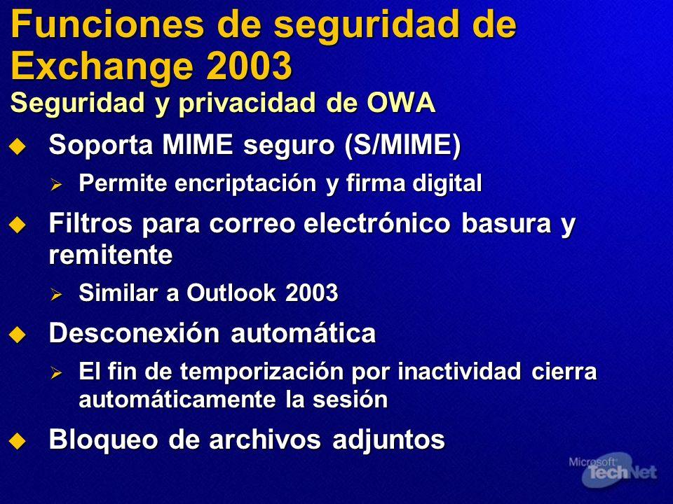Funciones de seguridad de Exchange 2003 Seguridad y privacidad de OWA