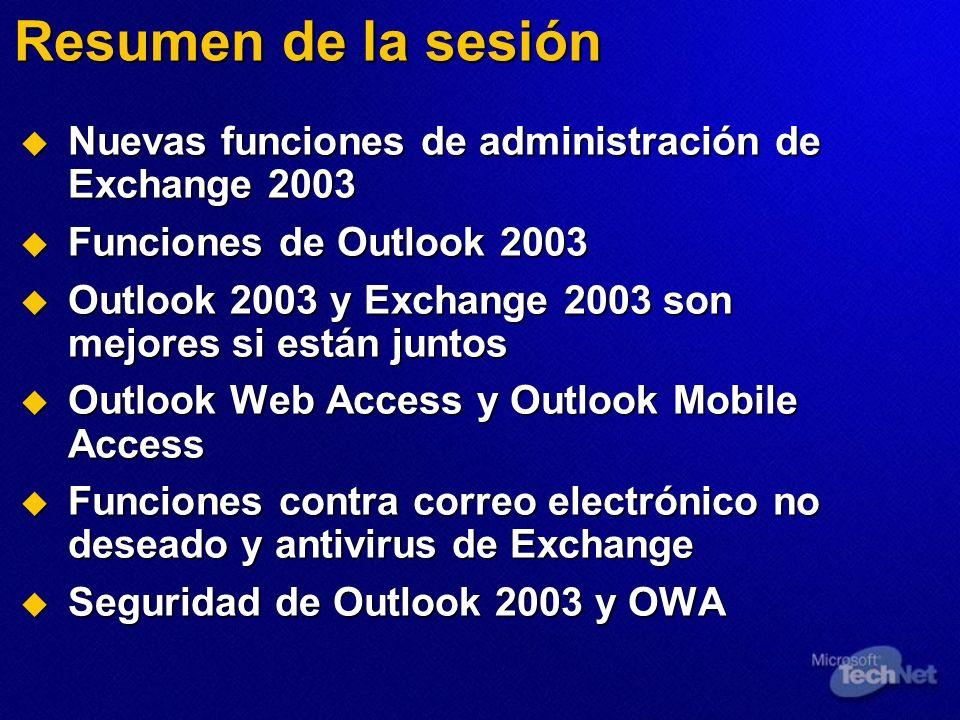 Resumen de la sesión Nuevas funciones de administración de Exchange 2003. Funciones de Outlook 2003.