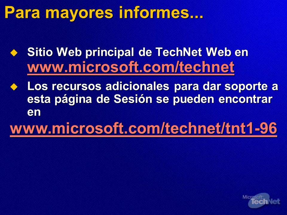 Para mayores informes... www.microsoft.com/technet/tnt1-96