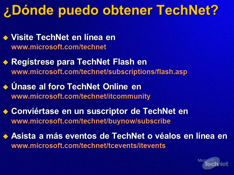 ¿Dónde puedo obtener TechNet