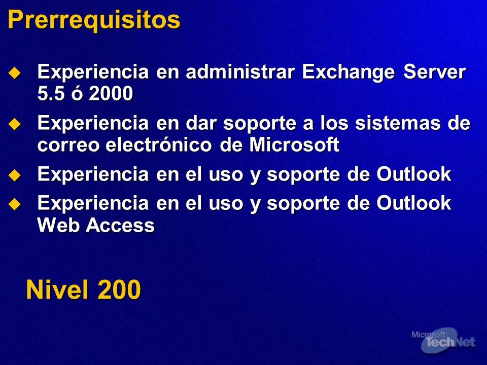Prerrequisitos Experiencia en administrar Exchange Server 5.5 ó 2000. Experiencia en dar soporte a los sistemas de correo electrónico de Microsoft.