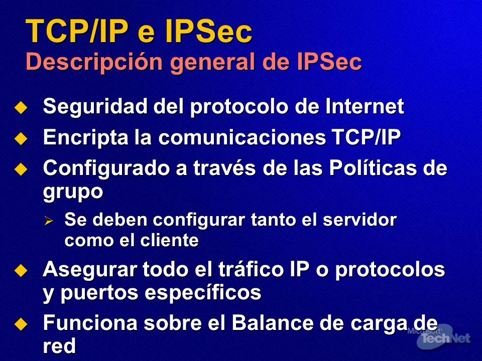 TCP/IP e IPSec Descripción general de IPSec